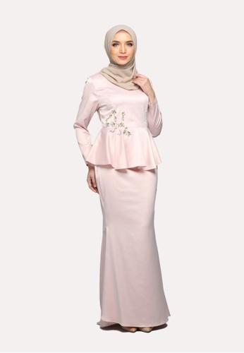Elegance Peplum Kurung from Emanuel Femme in Pink