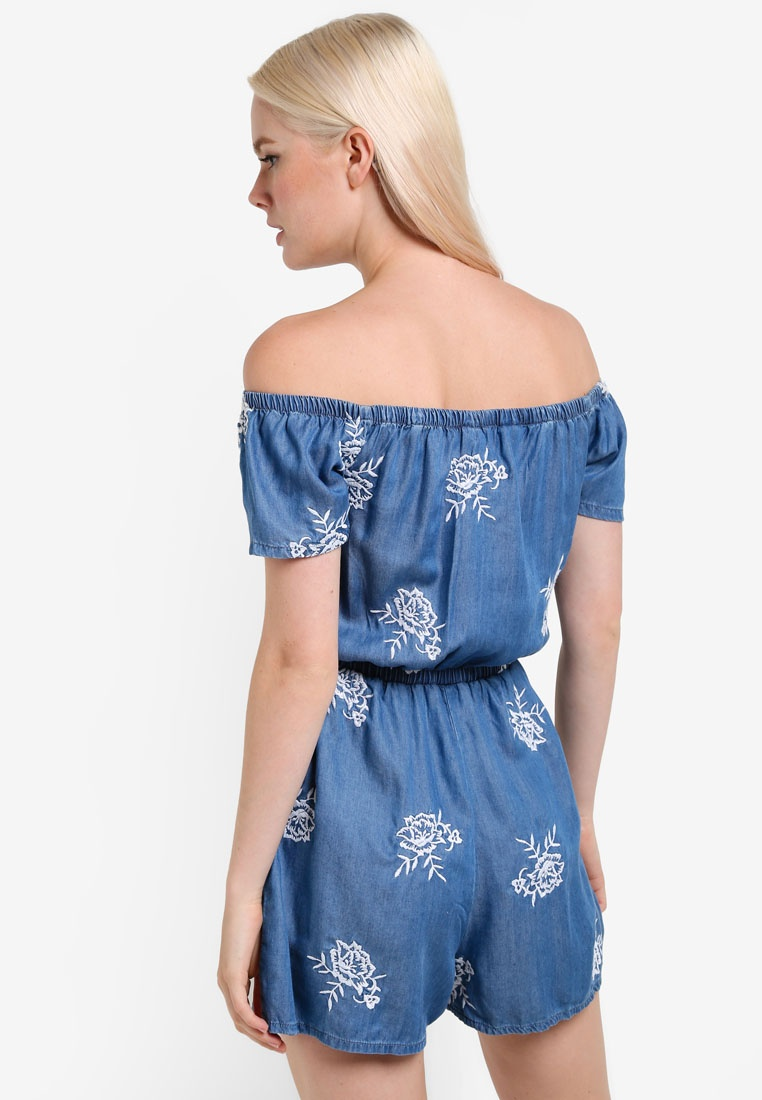 Blue Playsuit Bardot Embroidered Miss Selfridge waPTII