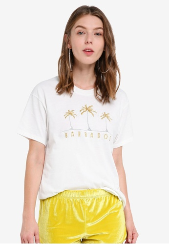 TOPSHOP white 'Barbados' T-Shirt By Tee & Cake F91F8AAF976C62GS_1
