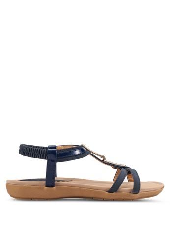 閃飾繞zalora 順豐踝平底涼鞋, 女鞋, 涼鞋