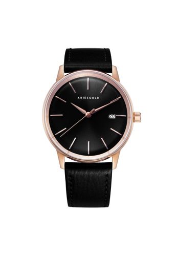 Aries Gold black Aries Gold La Oro G 9026 RG-BK Rose Gold and Black Leather Watch 161E4AC862B292GS_1