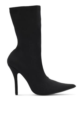 Public Desire black Danger Sock Fit Ankle Boots PU378SH0SIORMY_1