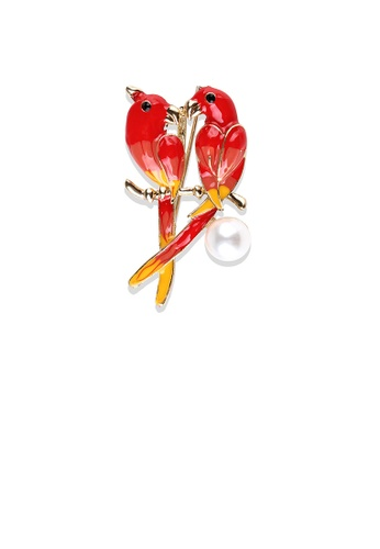 Glamorousky white Fashion Temperament Plated Gold Enamel Red Double Parrot Brooch with Imitation Pearls EAFC7AC524FA18GS_1