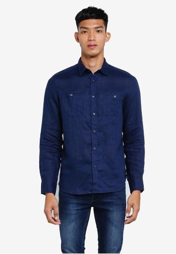OVS 藍色 長袖襯衫 AC404AA08DEADBGS_1