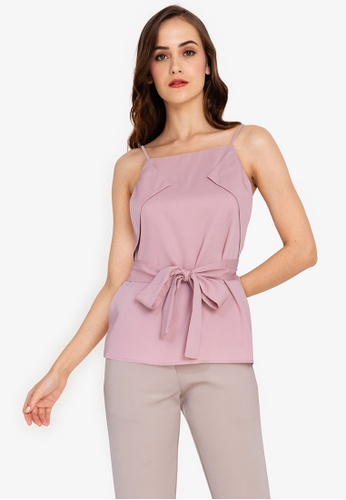 ZALORA WORK pink Belted Flap Top F63CEAA638C00CGS_1