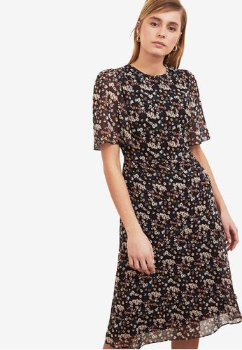 Trendyol black Printed Flutter Sleeve Midi Dress F79D6AAB4F4D3AGS_1