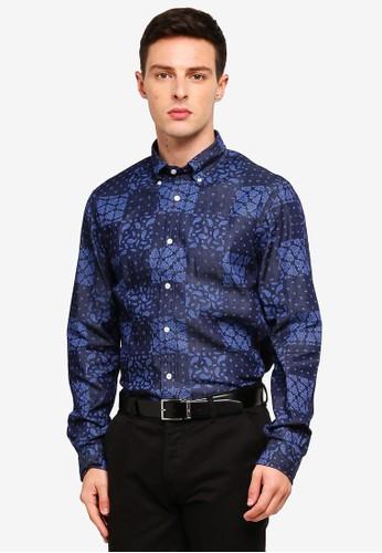 Brooks Brothers multi and navy Red Fleece Indigo Bandanna-Print Denim Sport Shirt F0FD1AA6A14852GS_1