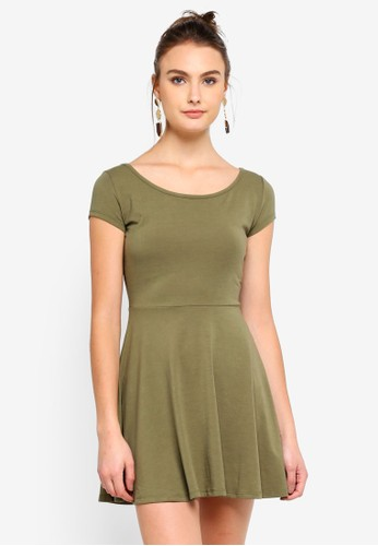 Cotton On green Billie Cap Sleeve Skater Dress F334FAAAD3C3F4GS_1