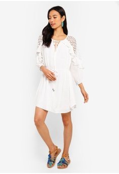 ebfc6c8f628a 60% OFF INDIKAH Crochet Shoulder Ruffle Dress RM 259.00 NOW RM 103.90 Sizes  6 8 10