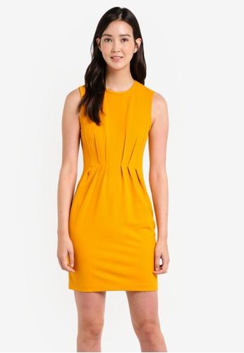 ZALORA yellow Pleat Detail Sleeveless Dress FA886ZZC79130EGS_1