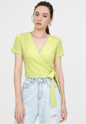 Pomelo yellow Ribbed V Neck Bow Tie Top - Yellow 86CD0AA282441AGS_1