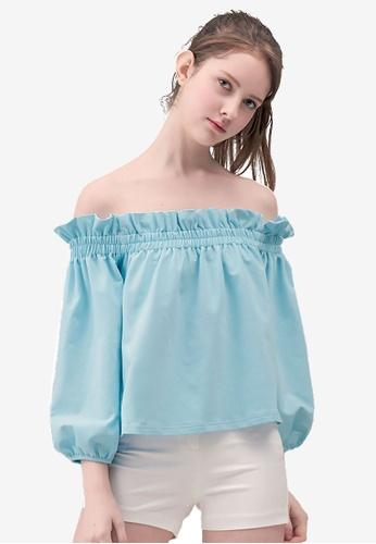 Kodz blue Off-Shoulder Oversized Blouse EE049AA8CE4E17GS_1