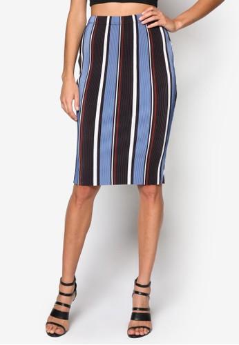 條紋及膝短裙、 服飾、 裙子MISSGUIDED條紋及膝短裙最新折價
