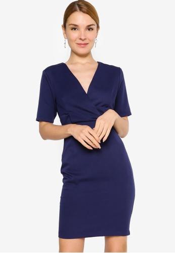 ZALORA WORK 海軍藍色 Overlap Short Sleeves Sheath Dress 0FB24AAEAEA6A1GS_1