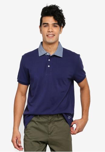Gay Giano navy Classic Oxford Collar Polo 62565AAC563E9AGS_1