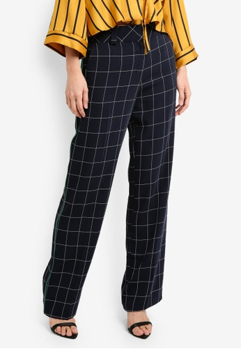 TOPSHOP blue and navy Window Checked Slouch Trousers TO412AA0SZ73MY_1