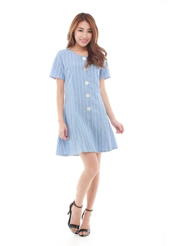 Sophialuv blue Clver Stripe Fit & Flare Dress in Blue C6C68AA726AB72GS_1