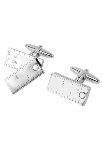 CUFF IT silver Moveable Ruler Cufflinks CU047AC17UVAHK_1