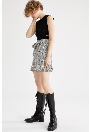 DeFacto beige Pleated Mini Skirt ED01BAA9A6C0CCGS_1