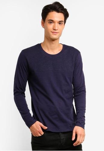 ESPRIT 海軍藍色 長袖T恤 AF5CAAA524F70FGS_1