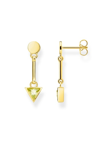 """THOMAS SABO gold earrings """"triangle green"""" DB298AC6ABCE95GS_1"""