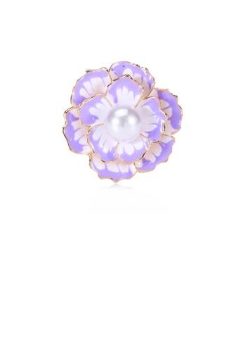 Glamorousky white Fashion and Elegant Plated Gold Purple Flower Imitation Pearl Brooch B84D2AC9C0BB17GS_1