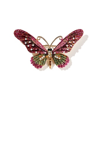 Glamorousky silver Fashion Bright Plated Gold Pink Butterfly Brooch with Cubic Zirconia CFA31ACBF3A4DEGS_1