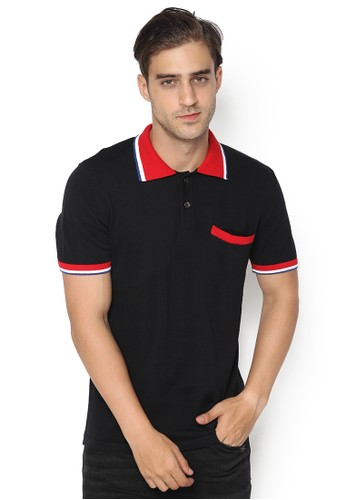 Knitwork black and grey KNITWORK Black Wavering Polo Shirt 62DB3AAC0235F8GS_1