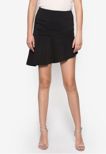 zalora 衣服評價荷葉擺高腰裙, 服飾, 迷你裙