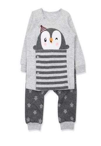 Organic mom grey Boys Winter King Penguin Home-wear Casual-wear Pajamas 8B986KAB296D1AGS_1