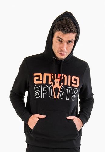 AMNIG black Amnig Sports Pullover Hoodie (Black) 5354BAA52F6B05GS_1