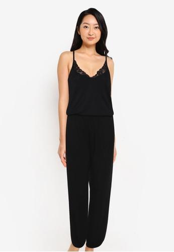 ZALORA BASICS 黑色 Lounge Lace Trim Jumpsuit 0D50DAA5856BB5GS_1