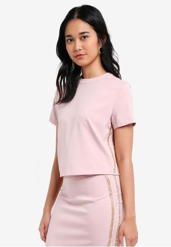 Something Borrowed pink Beaded Stripe Boxy Top 98B2AAA796857CGS_1