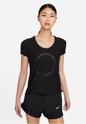 Nike black and grey Women's Icon Clash Miler Short-Sleeves Running Tee 2F60AAA365BA68GS_1