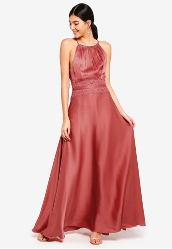 Little Mistress pink Satin Lace Maxi Dress 41A97AA03793AAGS_1