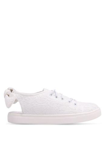 Velvet 白色 後繞帶蕾絲運動鞋 168DFSH786DB5FGS_1