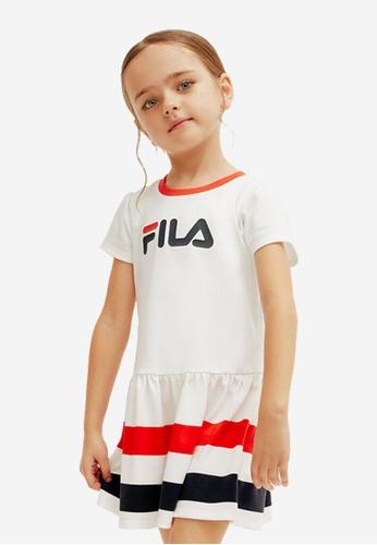 FILA white FILA KIDS FILA Logo Striped Dress 6-9yrs 77D96KAC1B98A5GS_1