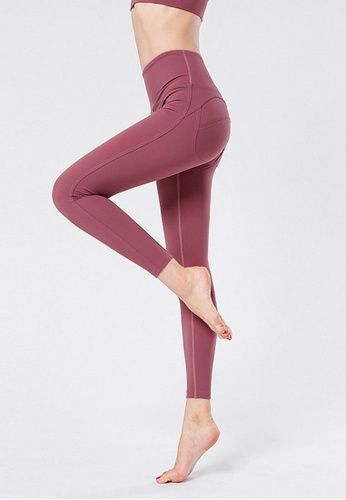 B-Code red ZYG3066-Lady Quick Drying Running Fitness Yoga Sports Leggings -Red 20162AADBE6006GS_1