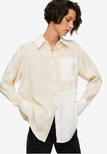 Mango white Pocket Modal Shirt F625FAA26C7A26GS_1
