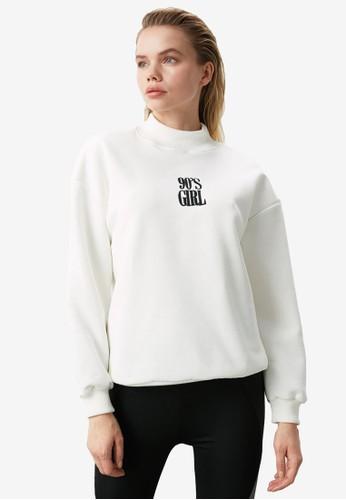 Trendyol white Embroidered High Neck Sweatshirt CB394AA9CF5124GS_1