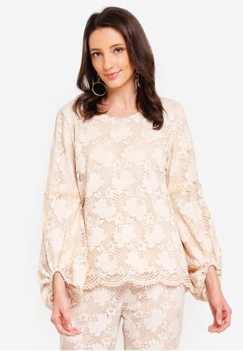 Zalia beige Lace Blouse with Velvet Trim A9A71AA227A66CGS_1