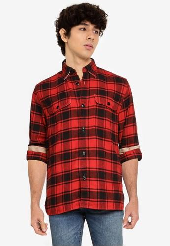 Banana Republic red Heavy Flannel Overshirt 0E4E4AA98AEF66GS_1
