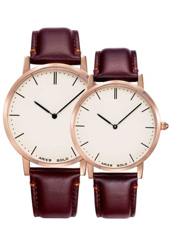 Aries Gold brown Aries Gold Couple Set -  Tango G 1007 & L 1008 RG-BEI Rose Gold and Brown Leather Watch 13822ACCDA092EGS_1