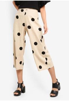 21069d8e13964 TOPSHOP beige Petite Lulu Spot Crop Wide Trousers 8AF5DAABD2B070GS 1