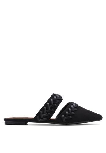 ZALORA black Weaving Backless Flats 414B8SHB1BE580GS_1