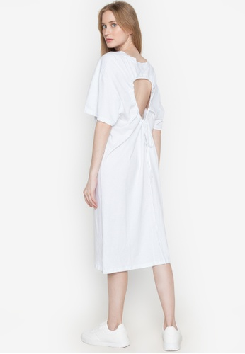 Spring Fling white Scoop Neck Shirt Dress with Ruched Cutout Back 7D235AA56E003BGS_1