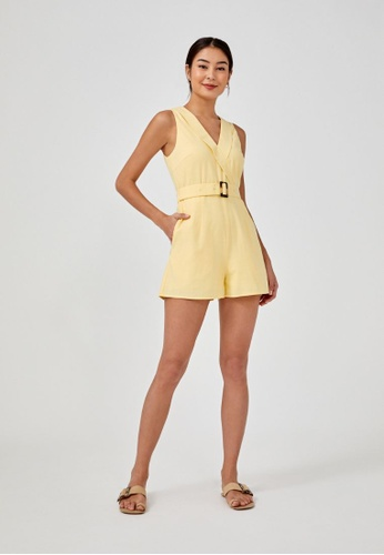 Love, Bonito yellow Malwinna Belted Romper 07AA5AA3464D75GS_1