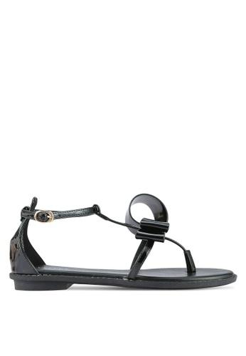 Velvet black Abstract Bow Sandals 5C64FSH3F9A8FEGS_1
