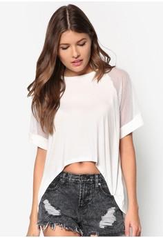 Raglan Mesh Sleeve Oversized Top