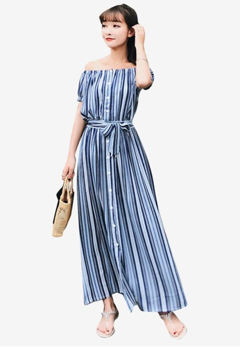 a3b5291ce77 Shop Sunnydaysweety Striped Chiffon Off-Shoulder One Piece Dress Online on  ZALORA Philippines
